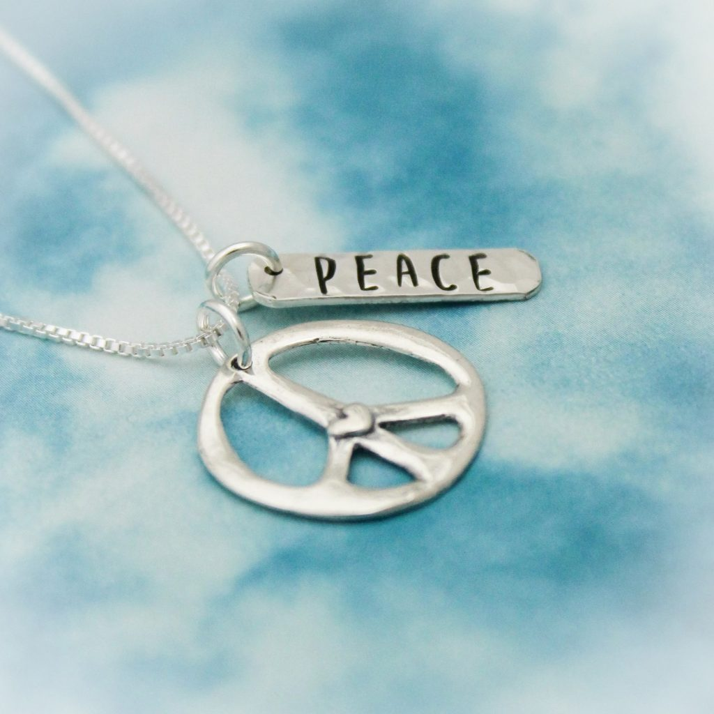 sterling silver peace charm necklace