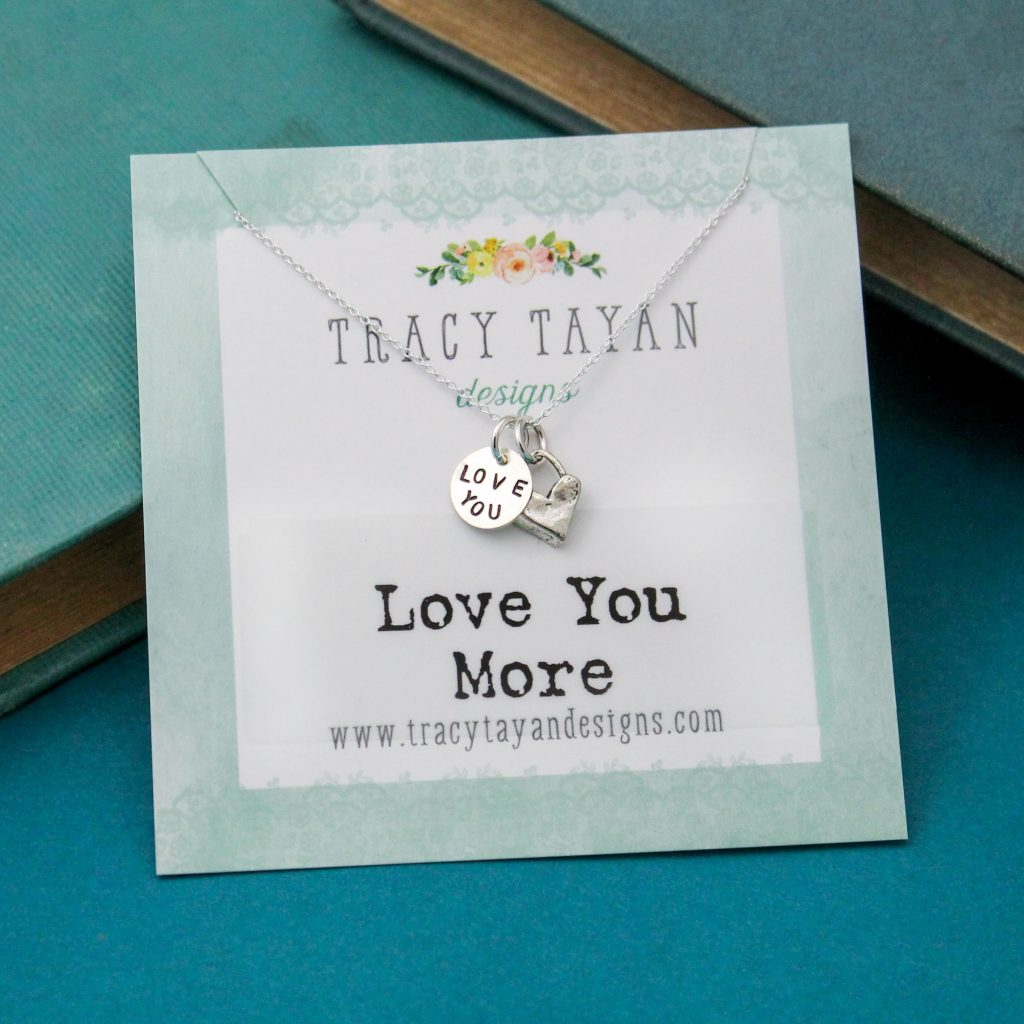 love you more hand stamped danity tiny necklace
