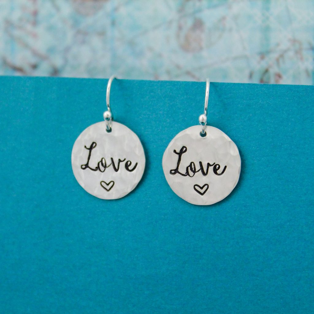 hand stamped sterling silver LOVE earrings for valentines
