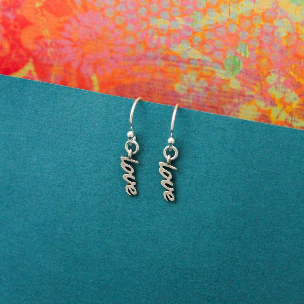 sterling silver love charms earrings valentines day gift for her