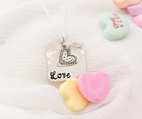 Sterling silver LOVE necklace hand stamped for Valentine's Day gifts for her.