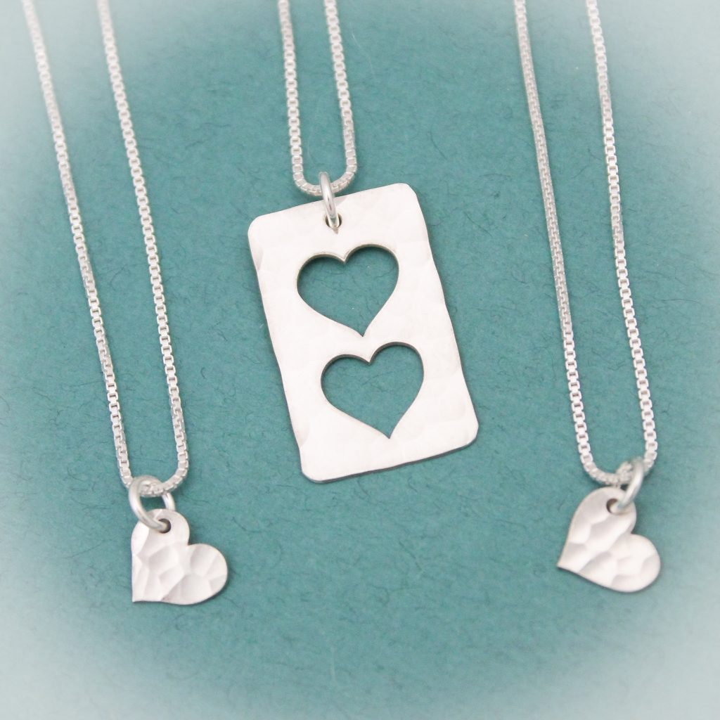two heart cut out necklace for mom or grandma
