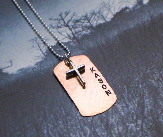 copper boys confirmation dog tag necklace