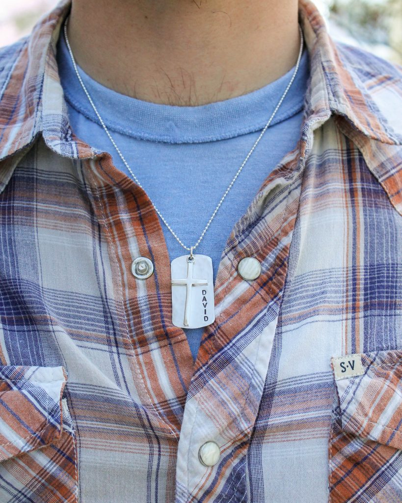 sterling silver boys confirmation cross dog tag necklace