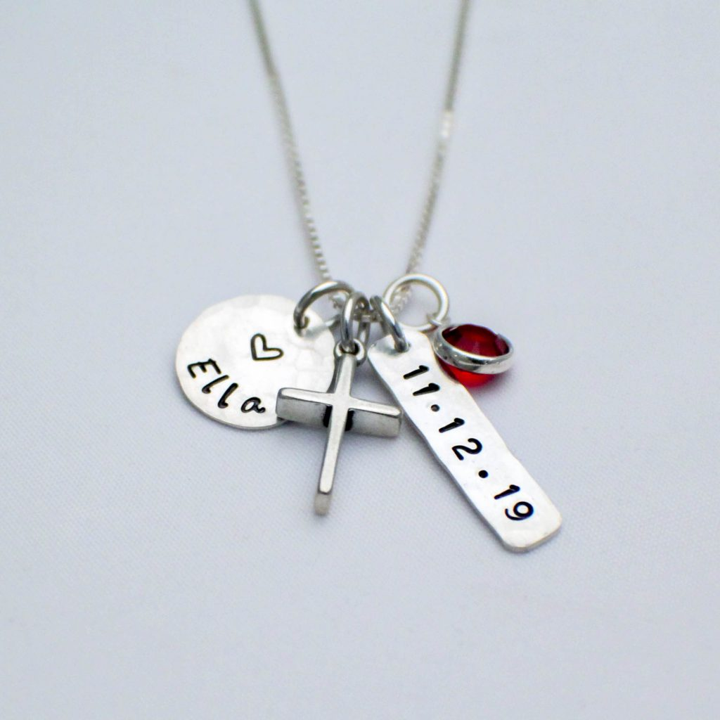 personalized sterling silver cross heart and birthstone charm necklace for confirmation or first communion