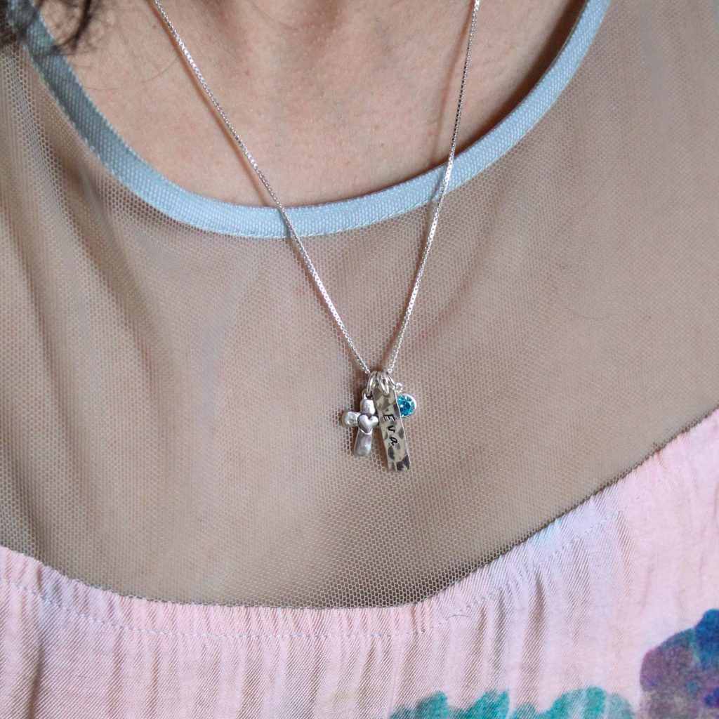 sterling silver puffy cross and heart charm necklace for girls