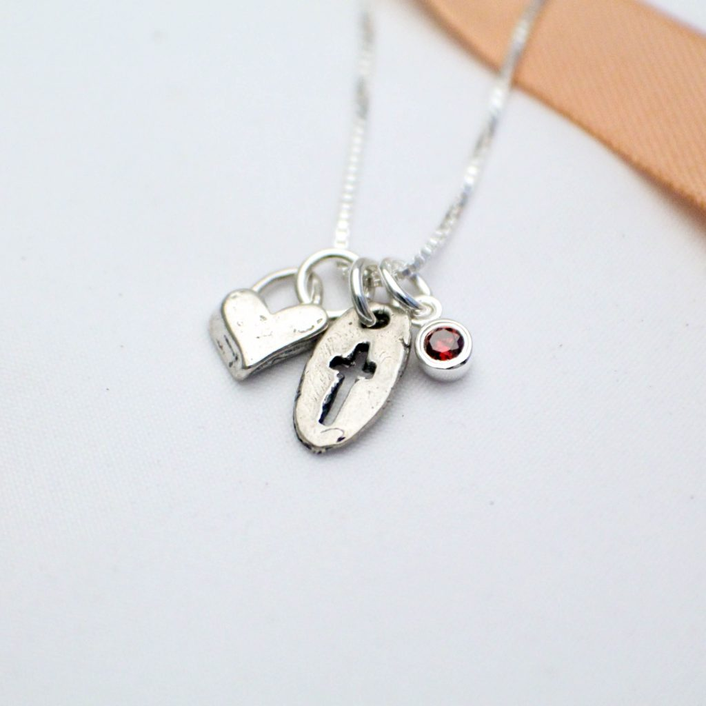sterling silver cross heart and birthstone charm necklace for confirmation or first communion