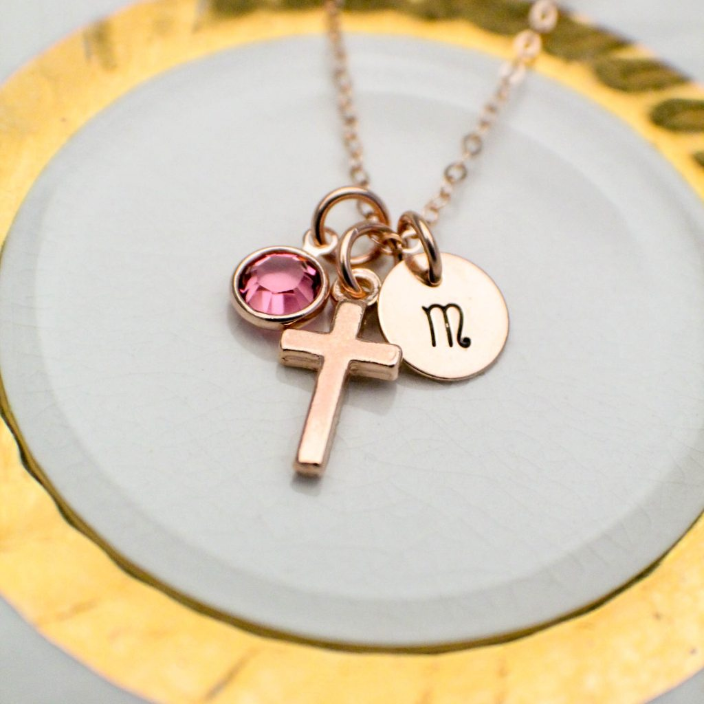 rose gold confirmation necklace for girls