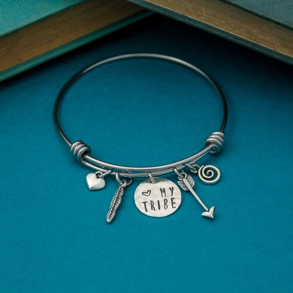 funky my tribe bangle in silver for mothers day