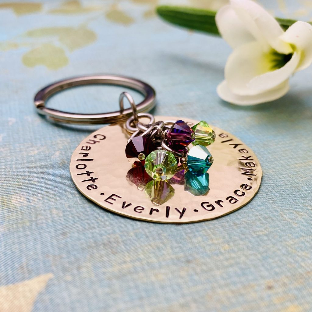 unique birthstone keychain for grandma