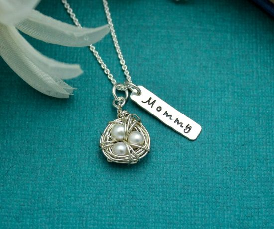 unique sterling silver and pearl bird nest mommy necklace for mothers day.