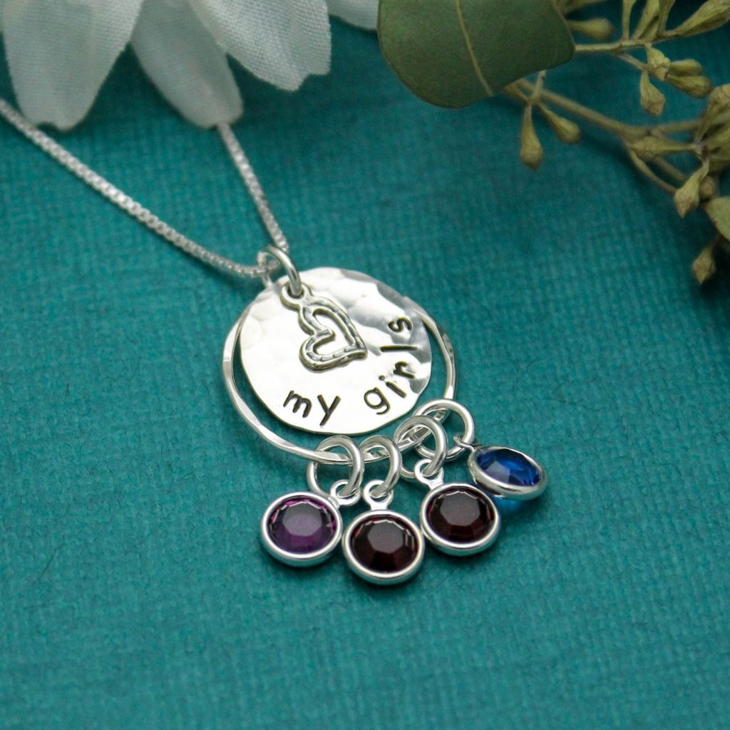 my girls birthstone necklace in sterling silver for mom