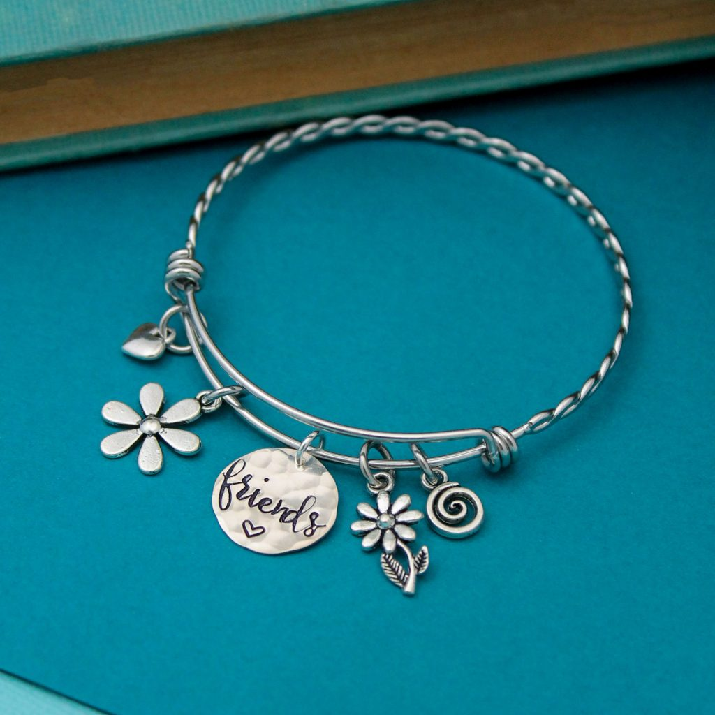 friends hand stamped bangle for graduates