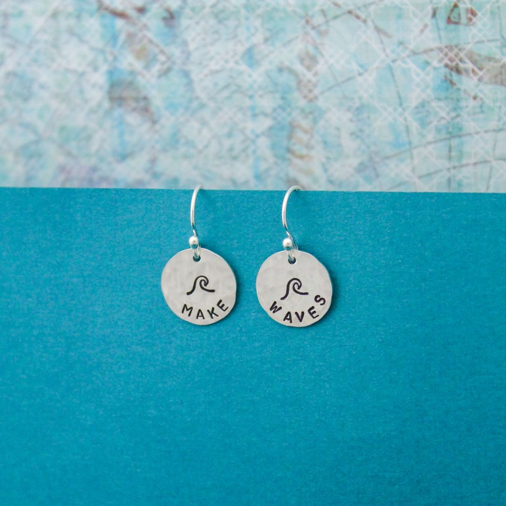 make waves earrings hand stamped graduation gifts