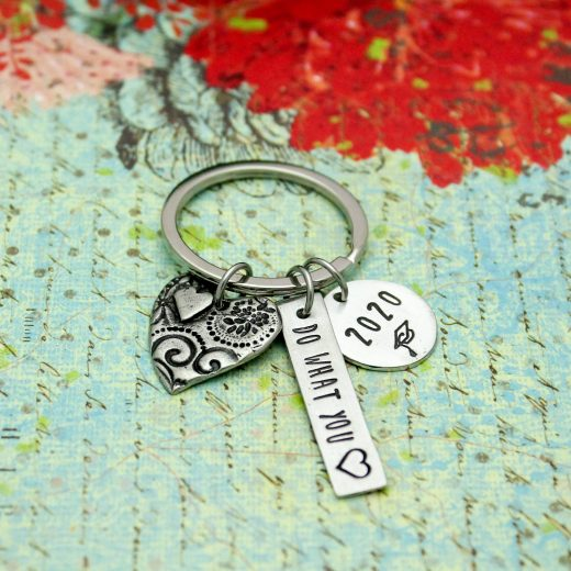 do what you love hand stamped pewter keychain for graduation gift