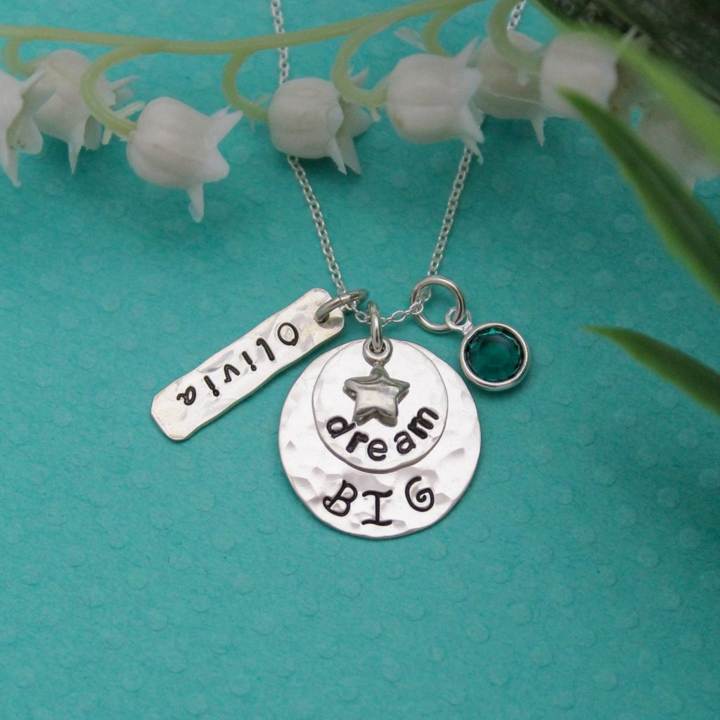 unique hand stamped dream big necklace personalized in sterling silver