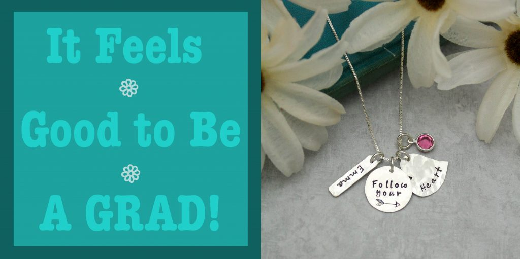 hand stamped graduation necklace follow your heart