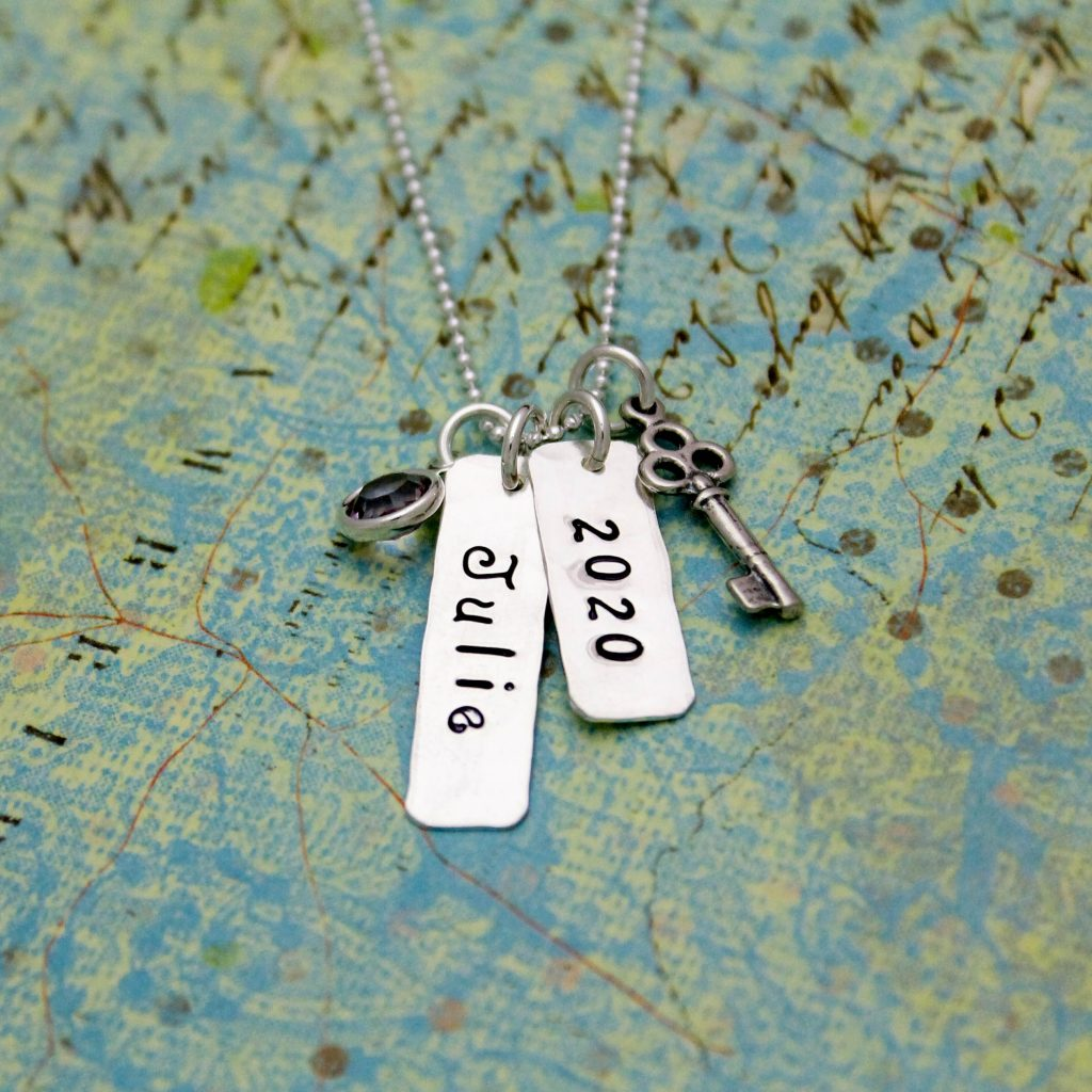 hand stamped graduation key necklace in silver
