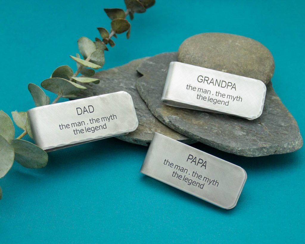 Custom personalized money clip for father's day gift.