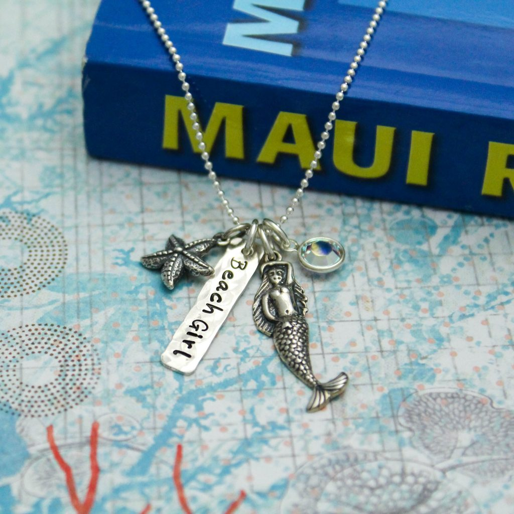 beach girl sterling silver charm necklace