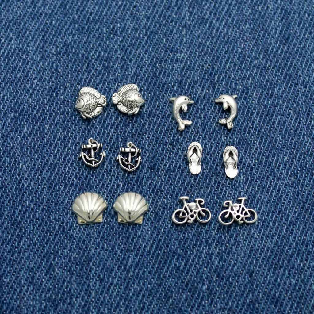 Beach earring studs in sterling silver.