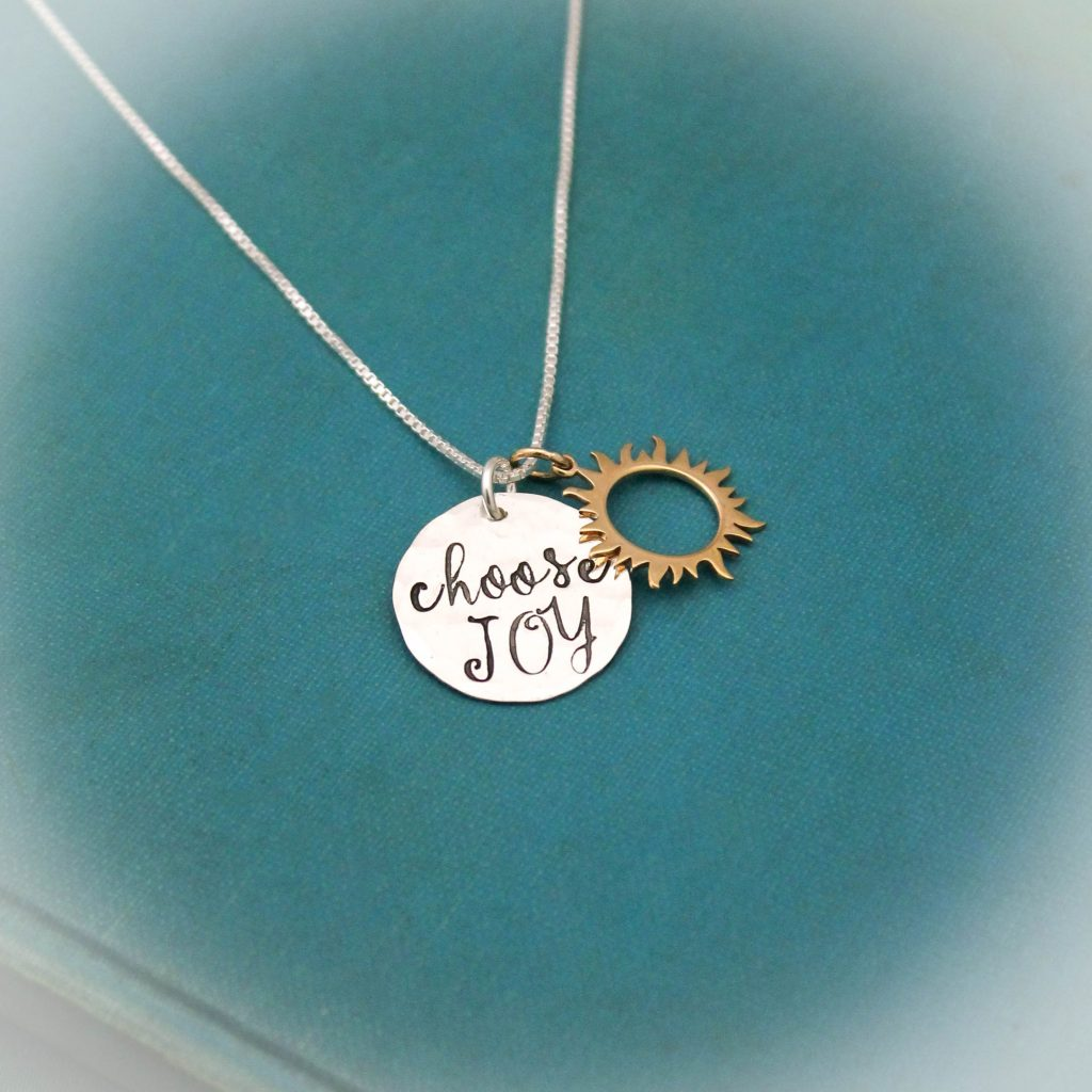 choose joy sun necklace