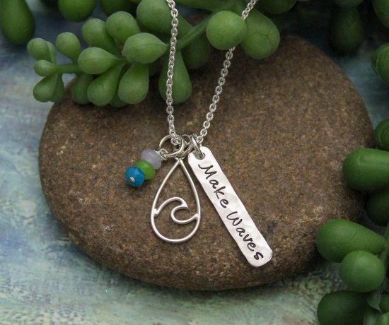 make waves ocean wave charm necklace