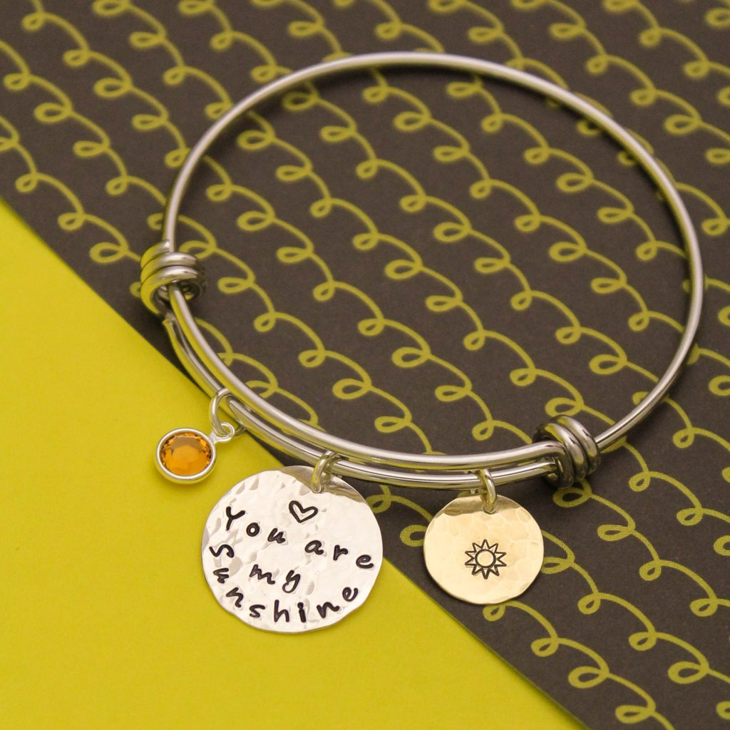 You are my sunshine bangle in gold and silver