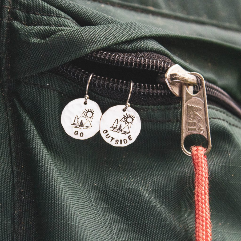 go outside earrings in sterling silver with camping scene