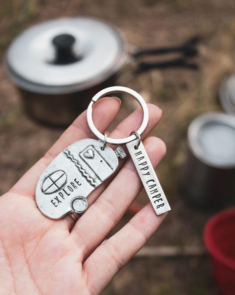 happy camper keychain in pewter