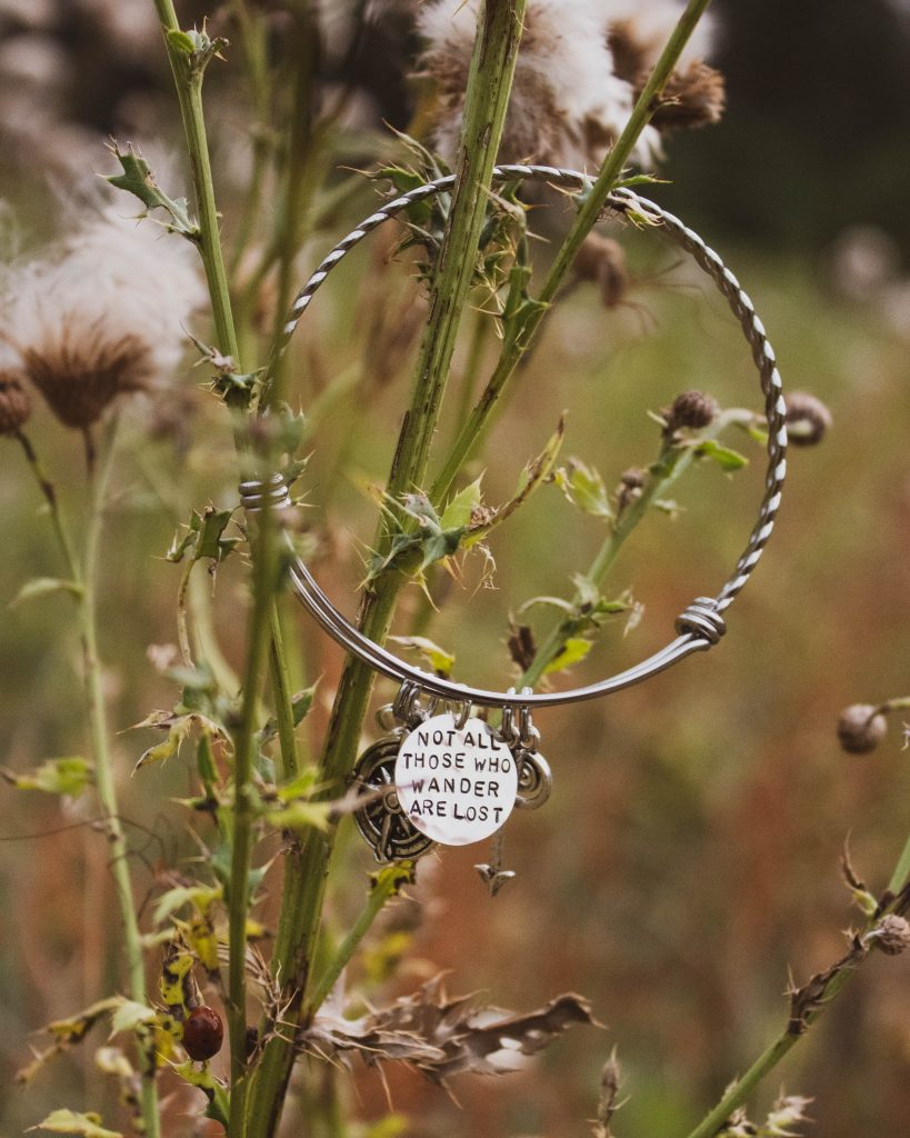 not all those who wander are lost bangle gift for her