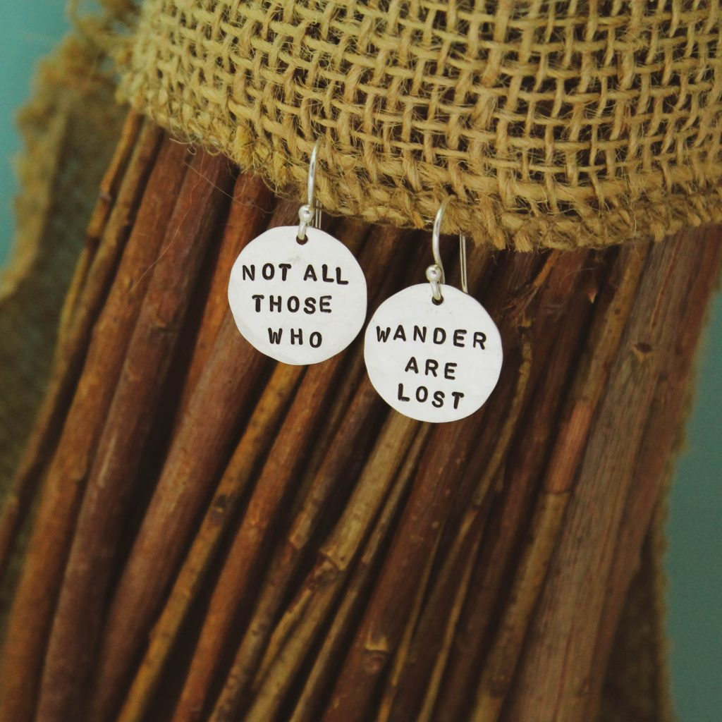 not all those who wander are lost earrings gift for her