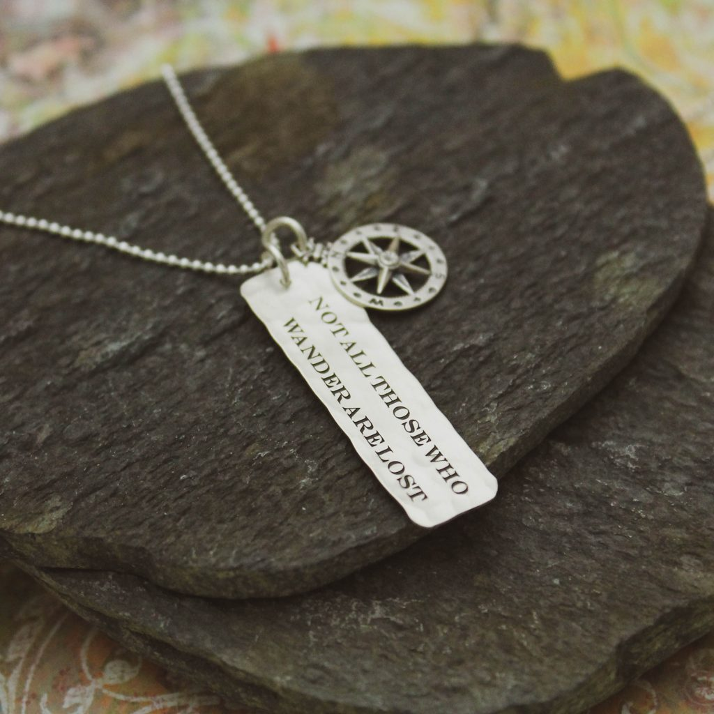 not all those who wander are lost necklace in sterling silver