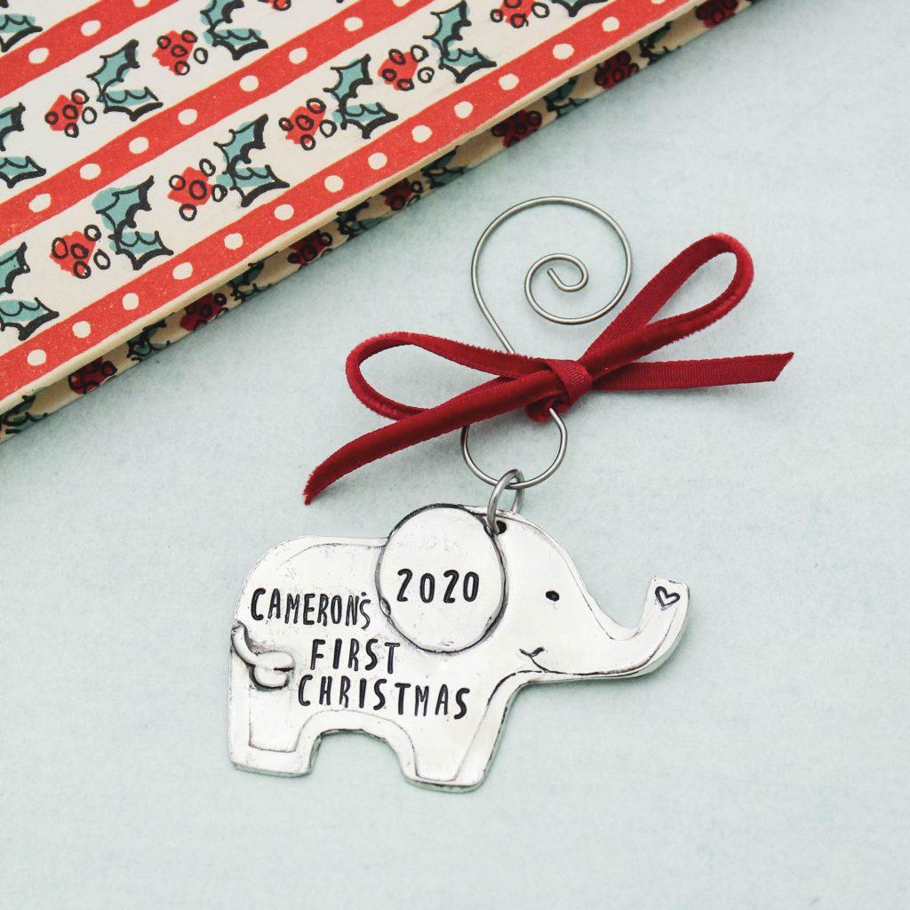 baby's first Christmas ornament elephant shape cute adorable