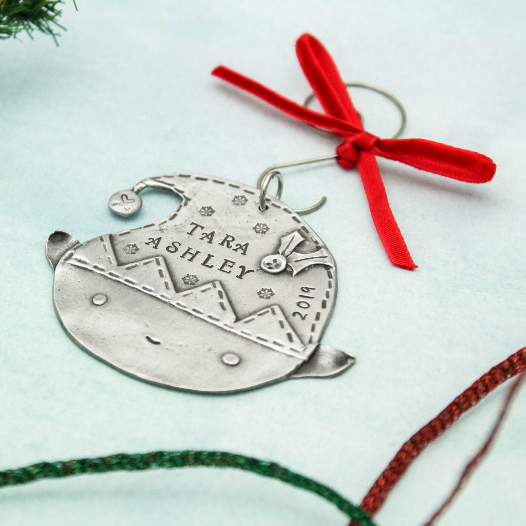 Personalized pewter elf ornament
