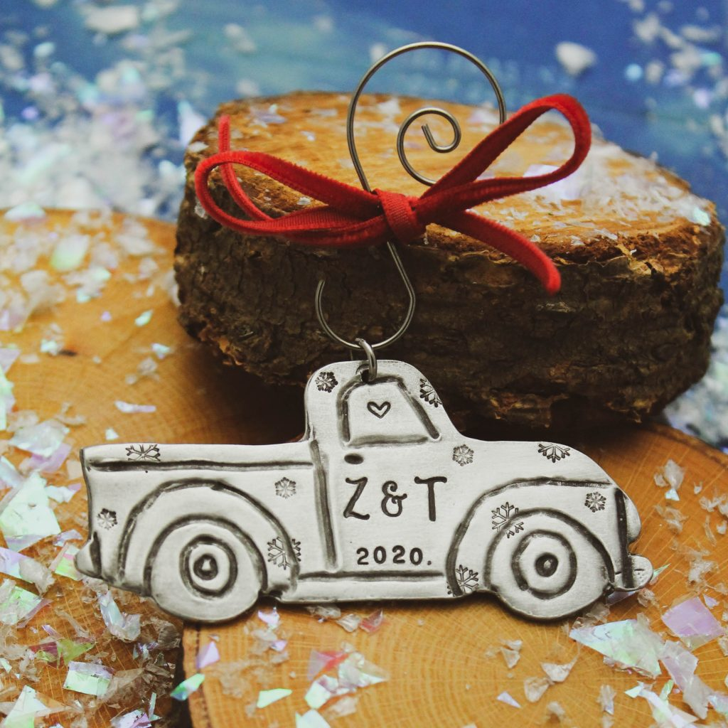 adorable pick up truck ornament personalized with initials and year