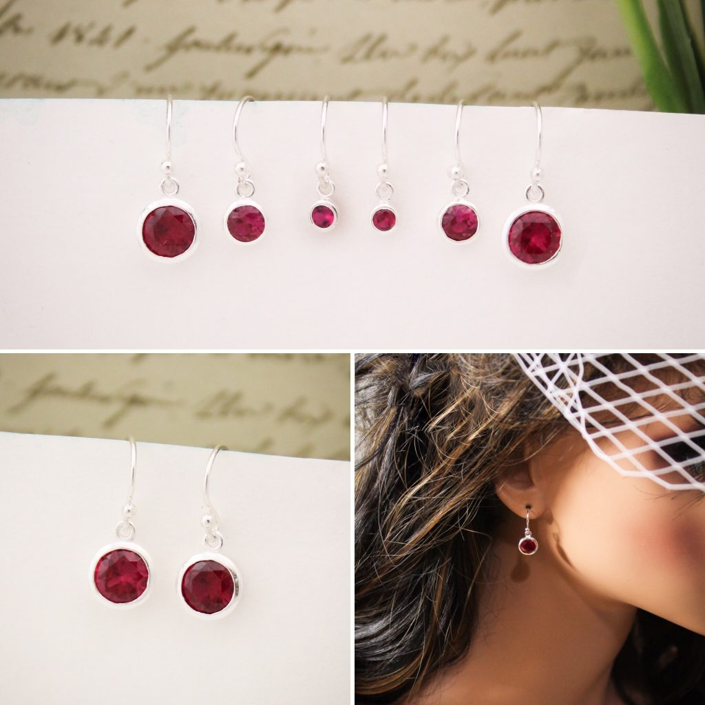 sterling silver birthstone earrings minimalist classic style gift for her