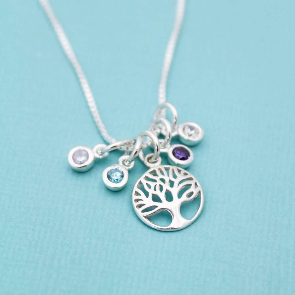 sterling silver tree of life birthstone necklace