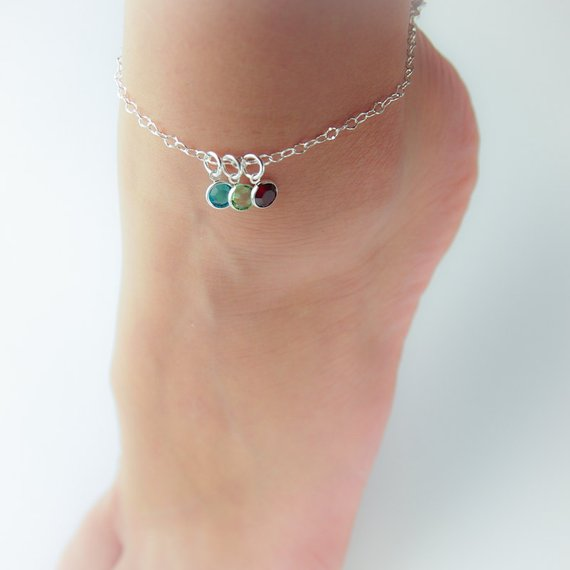personalized birthstone anklet in sterling silver gift for her