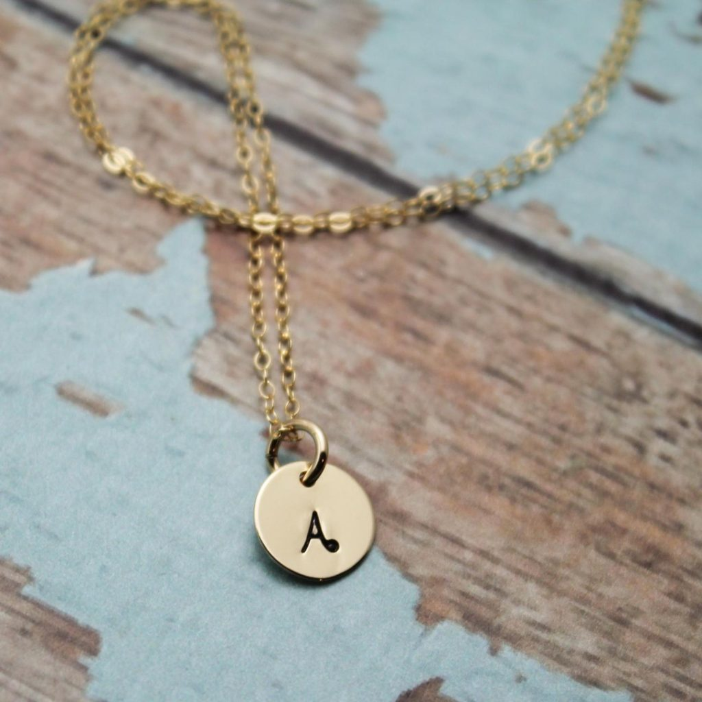 gold initial necklace for her custom jewelry gift