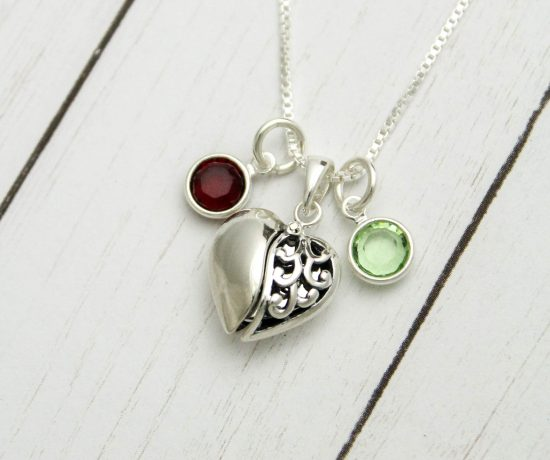 heart love charm necklace in sterling silver with birthstones