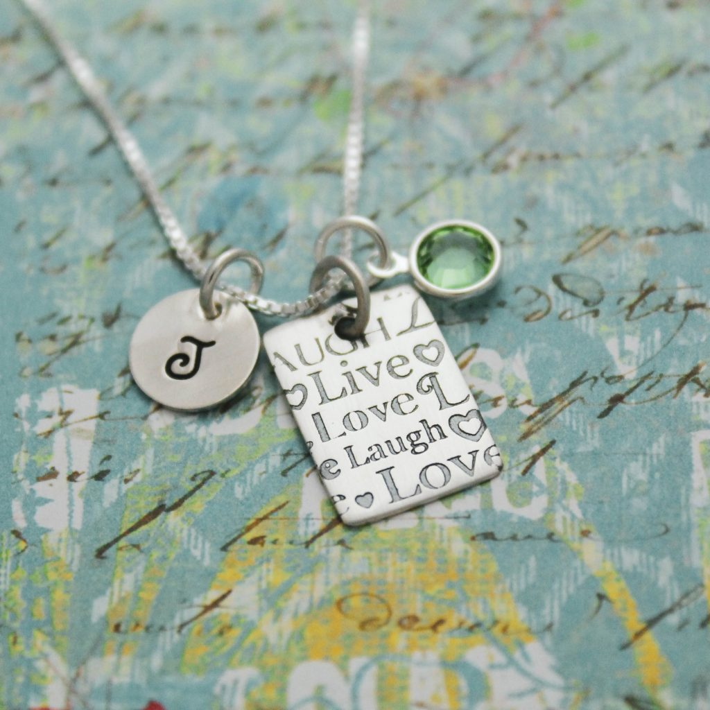 live laugh love in sterling silver necklace for her