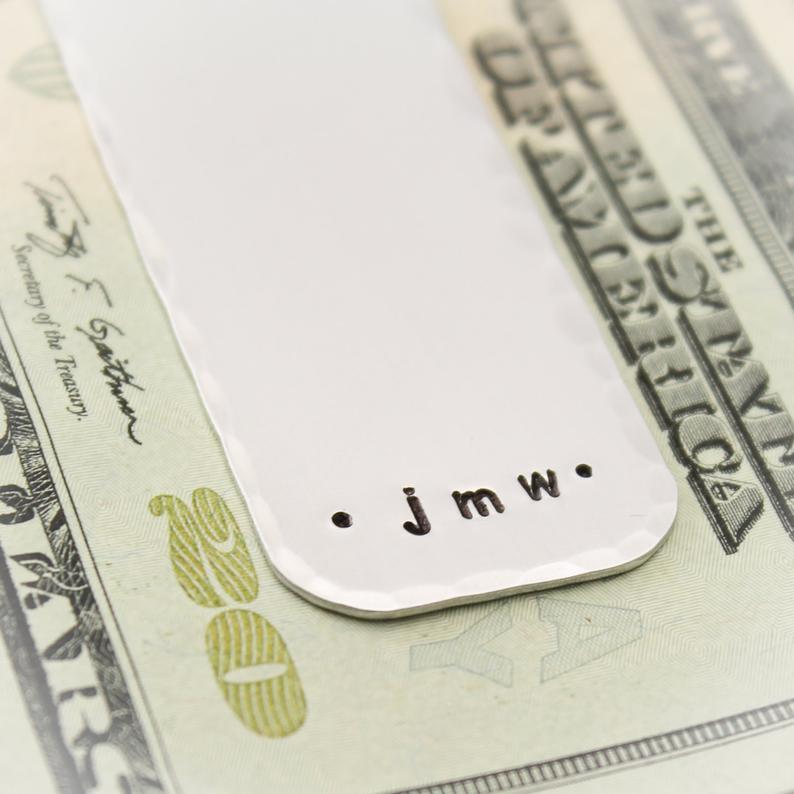 custom money clip for him engraved with initials