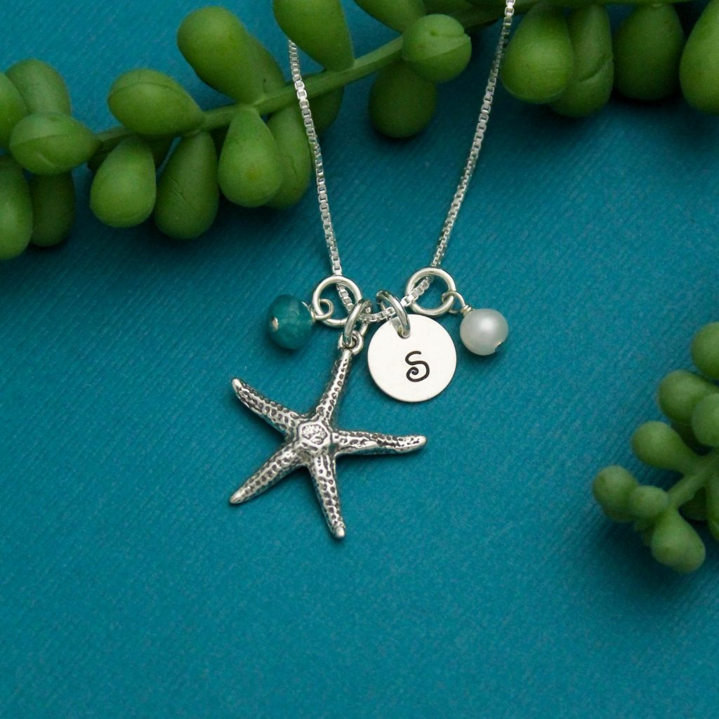 starfish initial necklace for beach girls gift for her