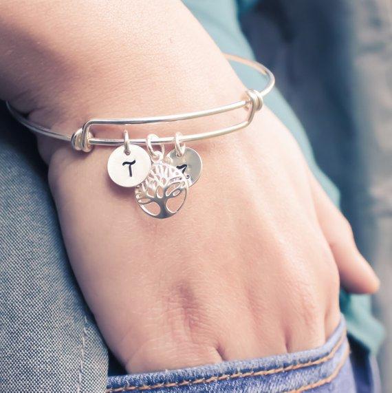 sterling silver tree of life bangle bracelet gift for her