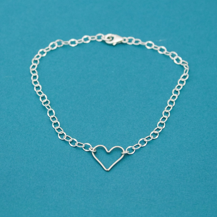 Heart Anklet Sterling Silver Personalized Anklet