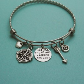 Not All Those Who Wander Are Lost Bangle Bracelet