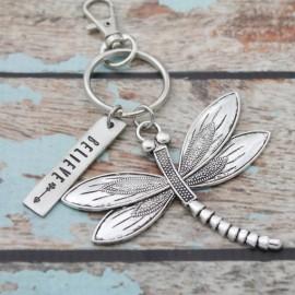 Believe Dragonfly Keychain
