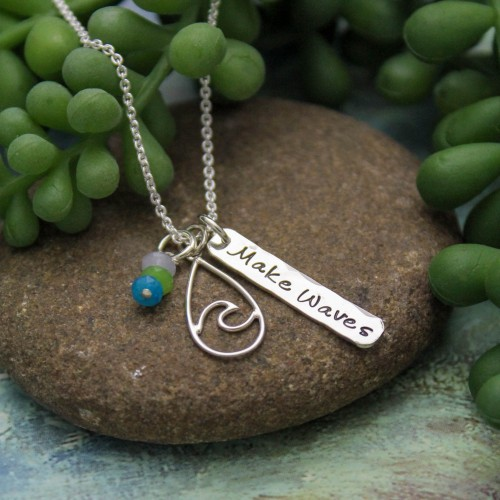 Make Waves Teardrop Necklace in Sterling Silver