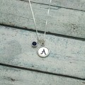 Wax Seal Initial & Birthstone Sterling Silver Necklace